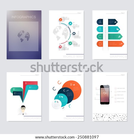 Set of infographics elements in modern flat business style. Can be used for info graphics, graphic or website layout vector, numbered banners, diagram, flyer, corporate report, marketing etc, web. - stock vector