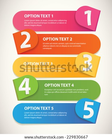 Set of infographics elements in the form of paper tape for various purposes. Sequence number. Vector illustration. Isolated on white background - stock vector
