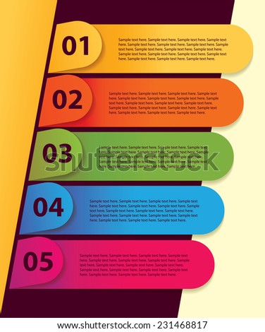 Set of infographics elements in the form of paper tape for various purposes. Sequence number. Vector illustration - stock vector