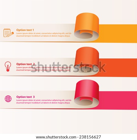 Set of infographics elements in the form of paper tape for various purposes. Vector illustration. Isolated on white background - stock vector