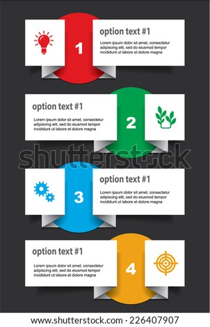 Set of infographics elements in the form of paper tapes and other shapes. For various purposes. Vector illustration - stock vector