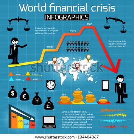 Set of infographics elements. World financial crisis. Vector illustration. - stock vector