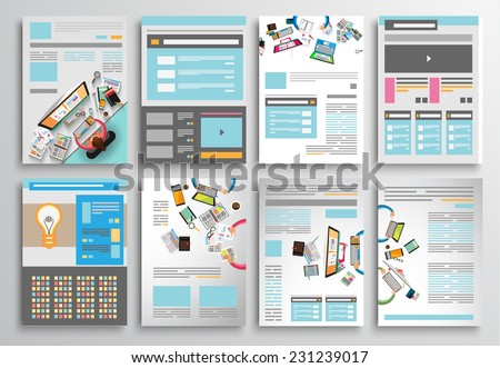 Set of Infographics,  Flyer and Brochure Designs, - stock vector