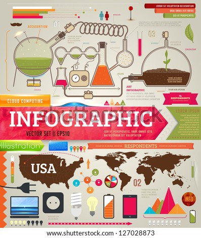 Set of infographics for design with chemical and medical elements, phones, lamps and world and USA maps, eps 10 vector illustration - stock vector