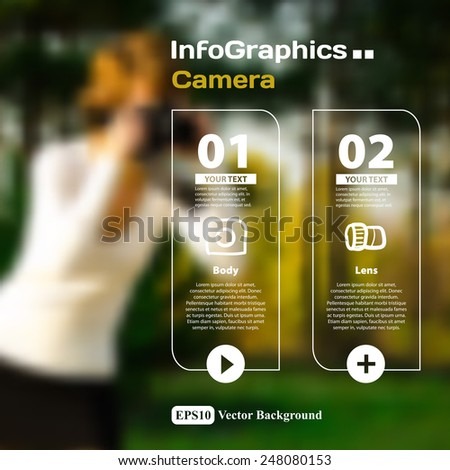 Set of infographics with a blurred background on the topic of photographic camera devices - stock vector