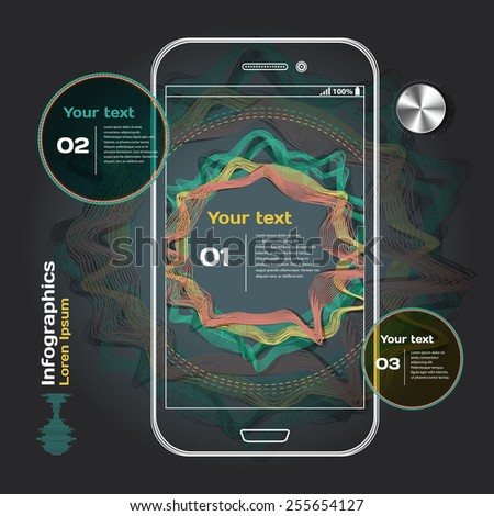 set of infographics with sound waves on dark background with smartphone - stock vector
