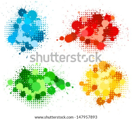 Set of ink blots and halftones patterns in four colors - stock vector