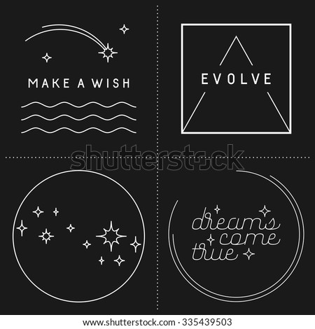 Set of inspirational quote designs in linear style - stock vector