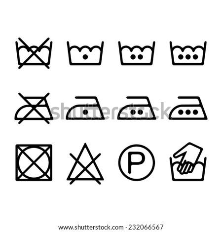 Washing instructions stock vectors vector clip art - Instructions de lavage symboles ...