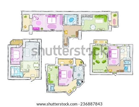 Set of interior apartment, sketch for your design. Vector illustration - stock vector