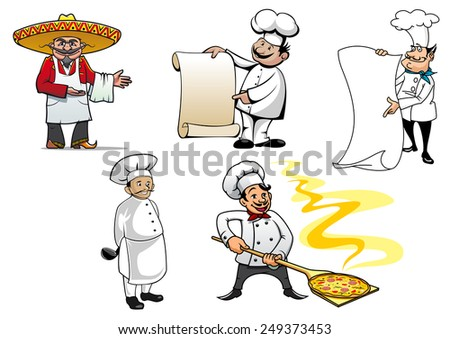 Set of international chefs colored vector character icons with a Mexican, French, German, an oriental cook and Italian making pizza - stock vector