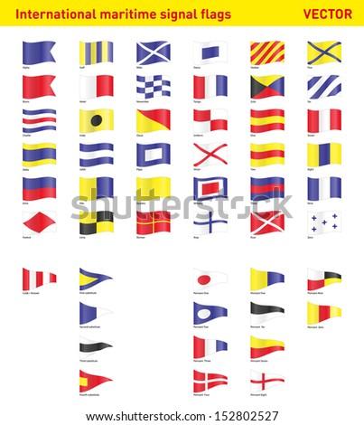 Set of international maritime signal flags - stock vector