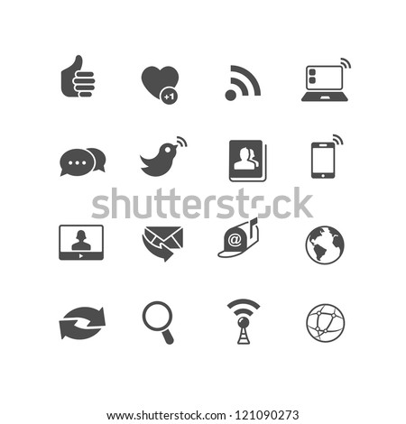 Set of 16 Internet Communication Icons that can be used for websites or mobile devices UI. Sliced for PNG. - stock vector
