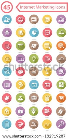 Set Of Internet Marketing Icons,Colorful version,vector - stock vector