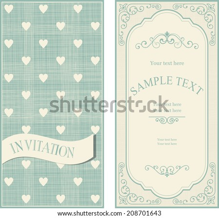set of invitation cards on vintage background - stock vector