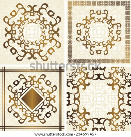 Set of invitation with vintage frame in pastel colors       - stock vector
