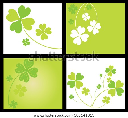 set of 4 invitations for life events with lucky four leaf clovers, in green white colors - stock vector