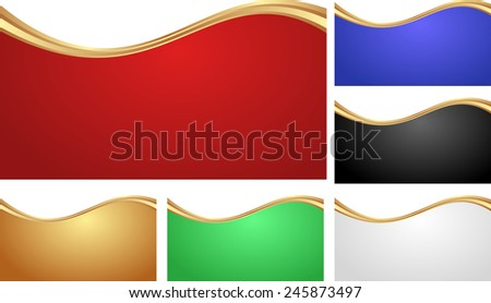 set of isolated abstract banners with golden divider - stock vector