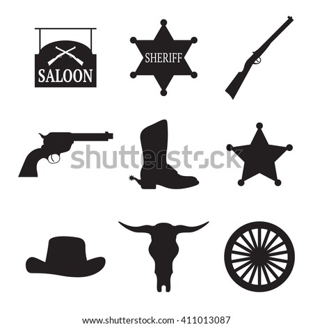 Set of isolated black icons on a theme western - stock vector