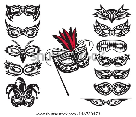 set of isolated carnival masks - stock vector