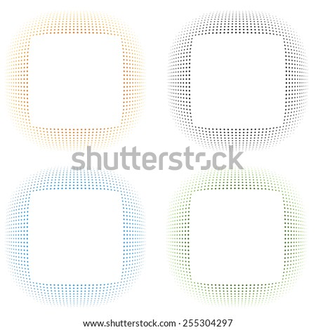 Set of 4 isolated colorful halftone frames for your design - stock vector