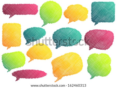 Set of 13 isolated colorful speach bubbles in different colors and shapes - stock vector