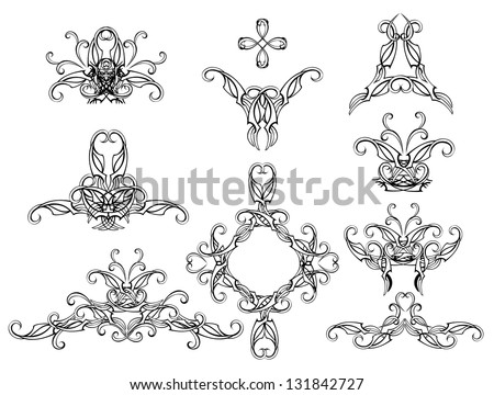 Set of isolated, copyright, stylish and filigree pattern on a white background. - stock vector