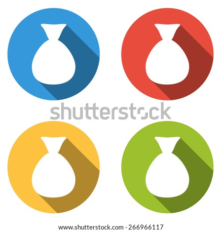 Set of 4 isolated flat colorful buttons for bag of money - stock vector
