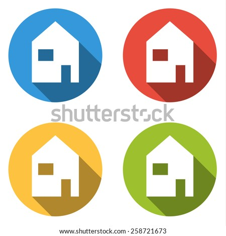 Set of 4 isolated flat colorful buttons for home (house) with long shadow - stock vector