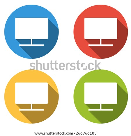 Set of 4 isolated flat colorful buttons (icons) for monitor (screen, display, device, ...) - stock vector