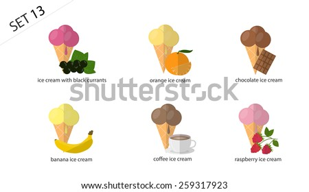 Set of isolated fruit and berry ice-cream: chocolate ice cream, coffee ice cream, raspberry ice cream, orange ice cream, banana ice cream. Set of 6 types of ice cream.( 6 varieties of ice cream) - stock vector