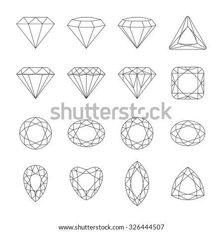 Set of isolated gem stones.Vector set of diamond design elements. Precious gem stones set of forms. - stock vector
