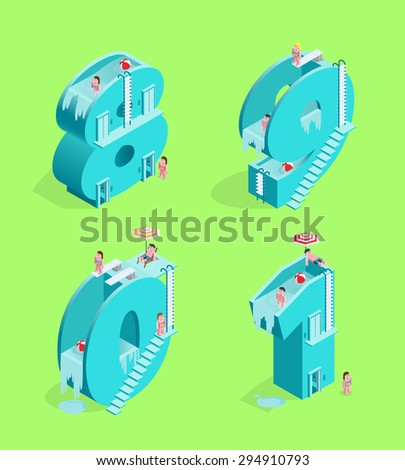 Set of Isolated High Quality Isometric Blue Numbers on Green Background ( Eight , Nine , Zero and One ). Vector Illustration. - stock vector