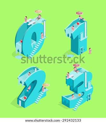 Set of Isolated High Quality Isometric Blue Numbers on Green Background ( Zero , One , Two and Three ). Vector Illustration. - stock vector