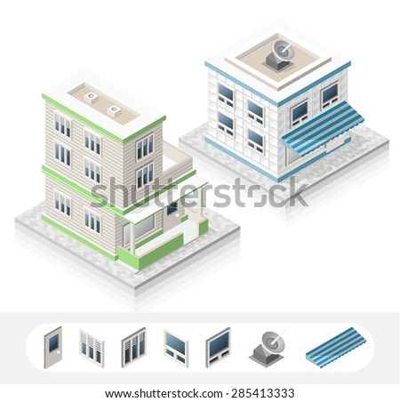 Set of Isolated High Quality Isometric City Elements. Two Residential on White Background. - stock vector