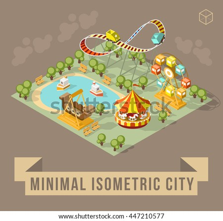 Set of Isolated Isometric Minimal City Elements. Theme Park with Shadows on Dark Background. - stock vector