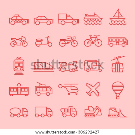 Set of Isolated Modern Minimalistic Simple Transport Thin Line Icons on Color Background.  - stock vector