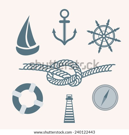 Set  of isolated nautical icons. - stock vector