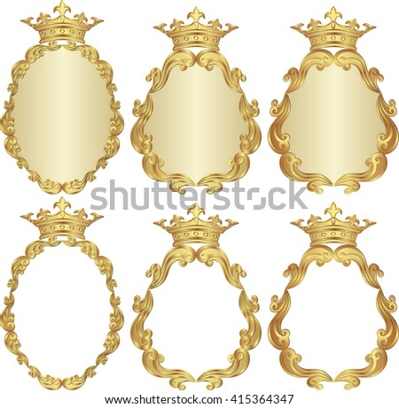 set of isolated royal frames - stock vector