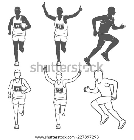 Set of isolated running man. Black and white outlined and filled vector illustrations. - stock vector