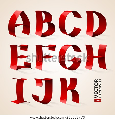 Set of isolated shiny red ribbon font A-K letters. RGB EPS 10 vector illustration - stock vector