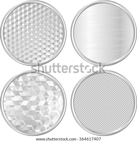 set of isolated silver banners - stock vector