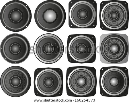 set of isolated speakers - stock vector