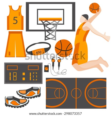 Set of isolated sports goods on a white background. Icons clothes playing athlete, basketball, ball, headphones in a flat style for design. Vector illustration - stock vector