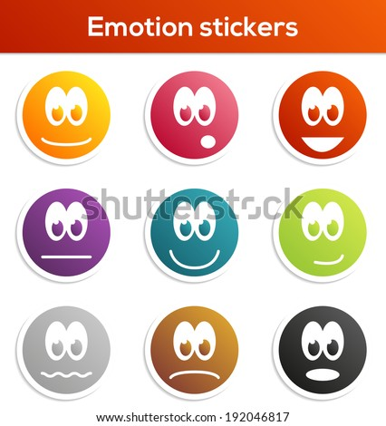 Set of 9 isolated stickers with different emotions and colors - stock vector