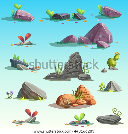 Set of isolated stones, boulders. Vector objects. Bright background images for print, create videos or web graphic design, user interface, card, poster. - stock vector