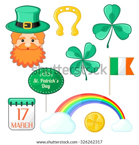 Set of isolated symbols for Saint Patrick's Day - stock vector