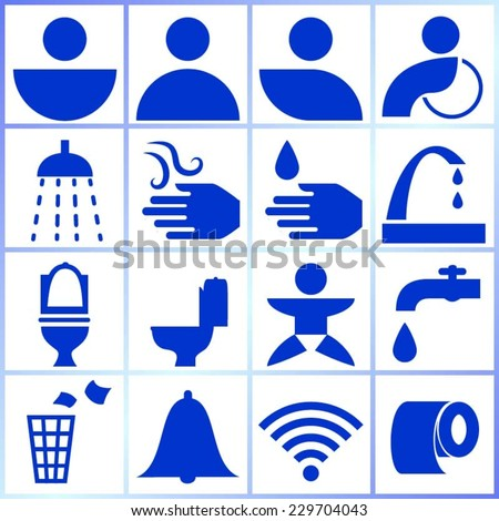 Set of isolated symbols/icons/signs for use in public restrooms - stock vector