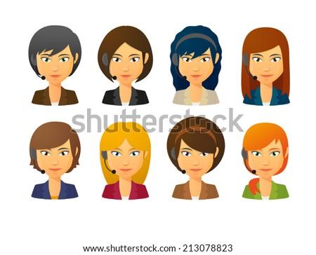 Set of isolated telemarketing female avatars wearing headset - stock vector