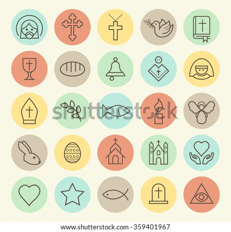 Set of Isolated Universal Minimal Simple Vintage Thin Line Christian Icons on Circular Color Buttons. - stock vector